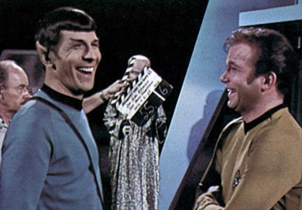 Shatner and Nimoy, still laughing on take six, 1969